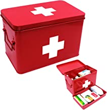 Vintage First aid Box for Home, Medicine Tin, Metal Medicine Storage Box with red and White Cross (Large)