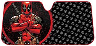 Deadpool Repeater Pattern Logo Marvel Comics Auto Car Truck SUV Vehicle Universal-fit Front Windshield Sunshade - Accordion Sun Shade