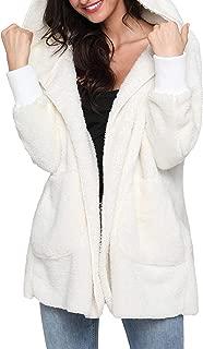 LUKEEXIN Women's Hooded Long Sleeve Double Pocket Open Front Plush Cardigan Coat