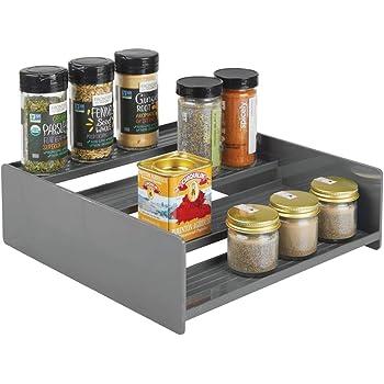 mDesign Especiero de plástico – Práctico organizador de especias para estantería o mueble de cocina – Estante en escalera con 4 escalones que ahorra espacio – gris oscuro: Amazon.es: Hogar
