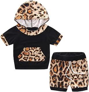 OverDose Niño pequeño Manga Corta con Capucha Trajes de Pantalones Cortos Top + Pantalones Cortos de Leopard Set