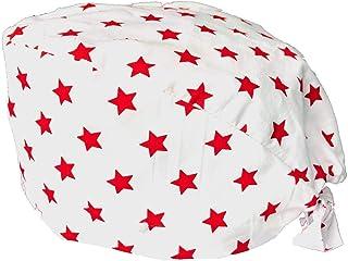 Cappello da lavoro con bottoni, Baretto medico con bottoni, Cotone 100%, Bianco con stelle rosse, fatto a mano in EU