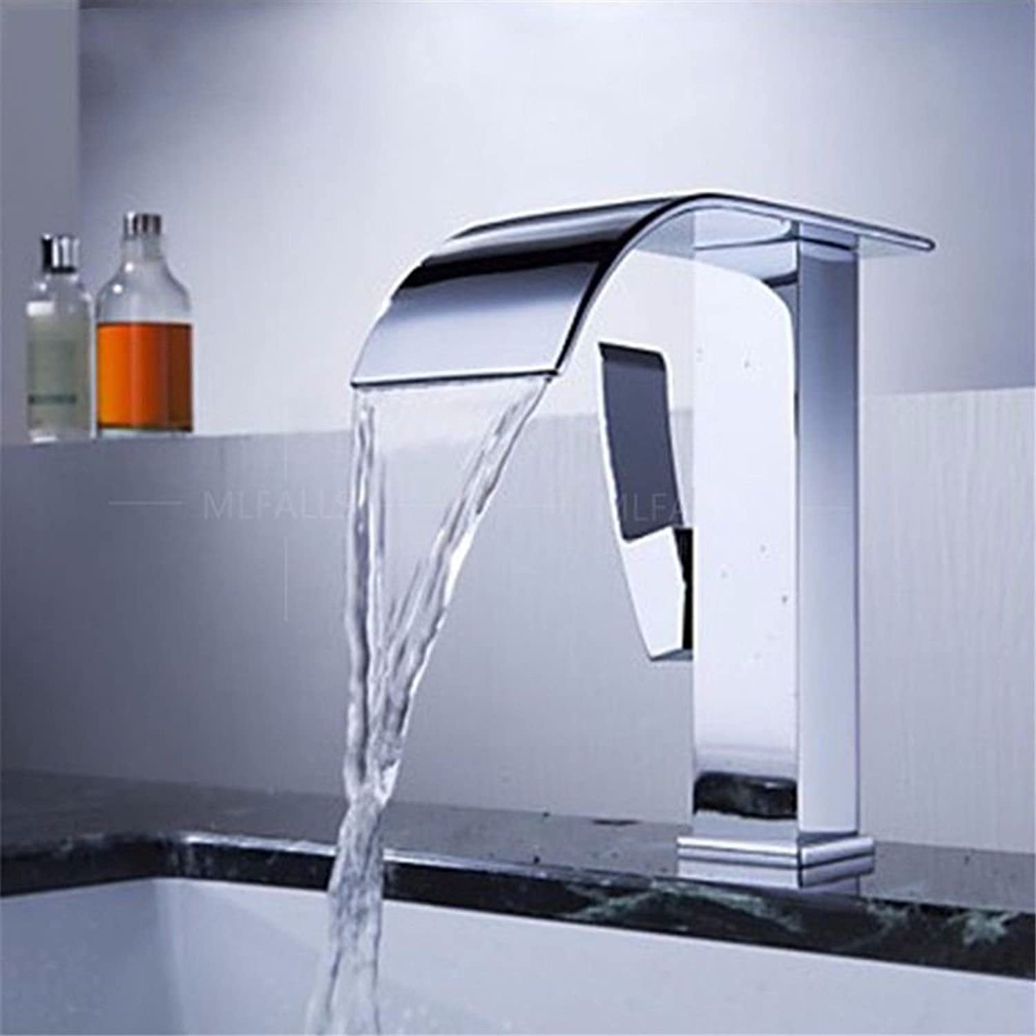 Lpophy Bathroom Sink Mixer Taps Faucet Bath Waterfall Cold and Hot Water Tap for Washroom Bathroom and Kitchen Hot and Cold Chrome Waterfall