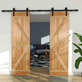 CCJH Country Antique Flat Style Sliding Double Barn Wood Door Hardware Track Set Closet 7 Ft Black