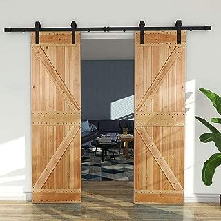 CCJH American Country Flat Style Steel Sliding Barn Door Hardware Interior for Double Door Black (11FT)