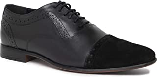 NOBLE CURVE Black Leather Oxford Shoes with Cap