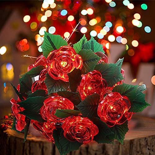 shirylzee guirnalda de luces LED 3M 20leds de rosas flores luces de hadas cadena de pilas romántica decoración para San Valentín, Navidad, Bodas, Fiestas, Jardines