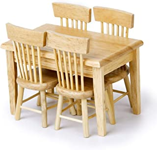 1//12 Dollhouse Dining Room Furniture Set 5pcs Dining Table and 4 Chairs WD016B