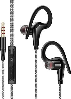 EEEKit Sport Running Earphone, in-Ear Wired Headphone, Earbuds Over Ear Hook 3.5mm Jack, Cell Phone Ear Buds Headset Waterproof (Black)