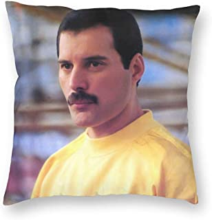 SSG One Street Velvet Soft Cozy Decorative Square Throw Pillow Covers Set Housewarming Gifts, Freddie Mercury Photo Stain Resistant Cushion Case for Sofa Living Room