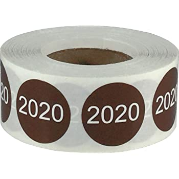 Brown 2020 Circle Dot Stickers, 3/4 Inch Round, 500 Labels on a Roll