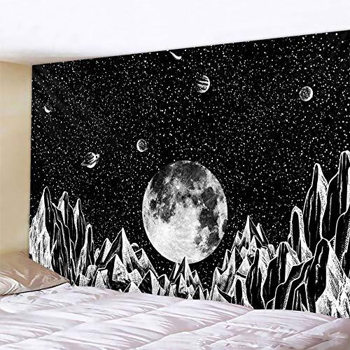 PPOU Tapiz de Mandala de Luna en Blanco y Negro Estilo Bohemio Colgante de Pared Manta de Arte psicodélico Colgante de Pared A6 130x150cm