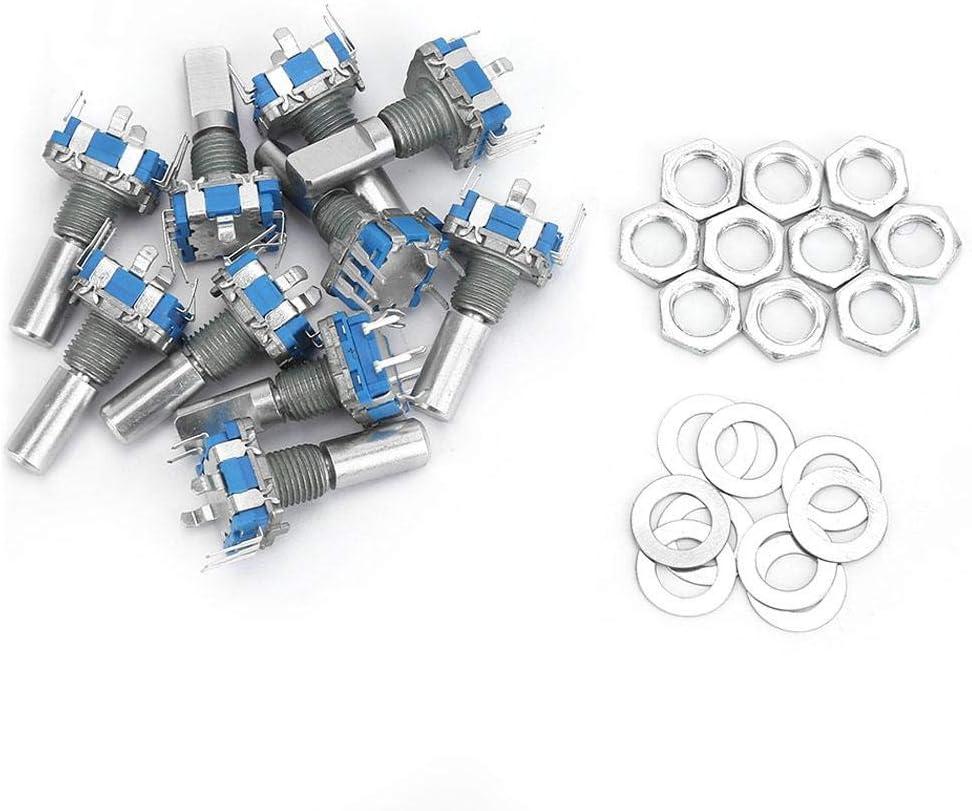 10PCS 5 Pin Rotary Encoder+Washers+Nuts 5V DC EC11 New color Regular discount Encode