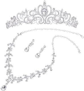 Winomo, Collana e orecchini con diademi e brillanti, set di gioielli da matrimonio, cerimonia
