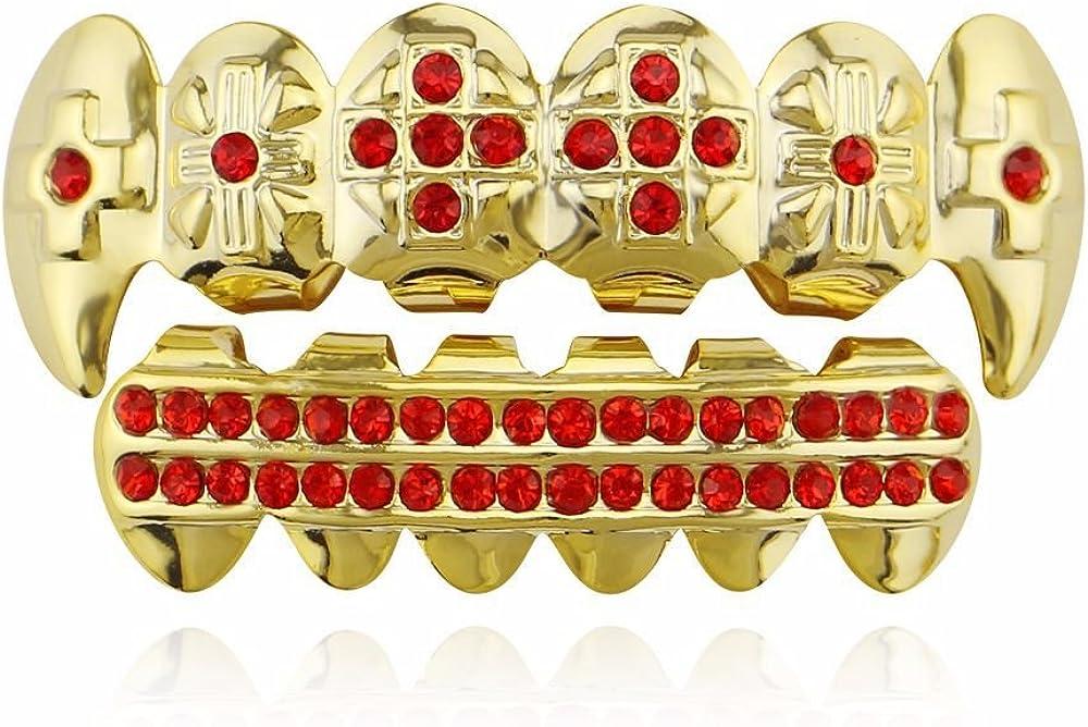 17Rainbow Gold Plated Dice Points CZ Diamonds Shield Top Bottom Hip Hop Teeth Grillz Silicone Molding Bar & Tweezer