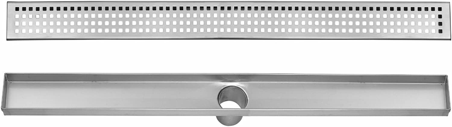 DreamDrain Brushed Stainless Linear Shower Drain Squares - 24 Inch