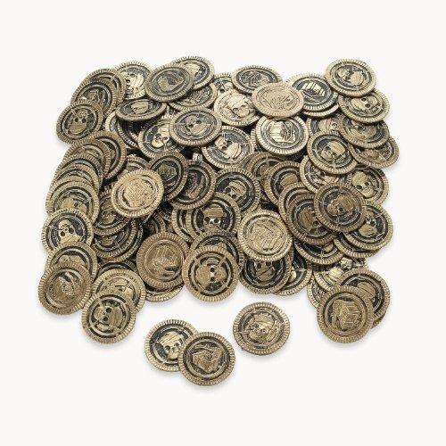 cama24com Piraten Goldmünzen mit Totenkopf 144 Stück Piratenparty Kindergeburtstag mit Palandi® Sticker