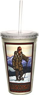 Tree-Free Greetings cc33277 Vintage Wisconsin Snow Shoeing by Paul A. Lanquist Artful Traveler Double-Walled Cool Cup with...