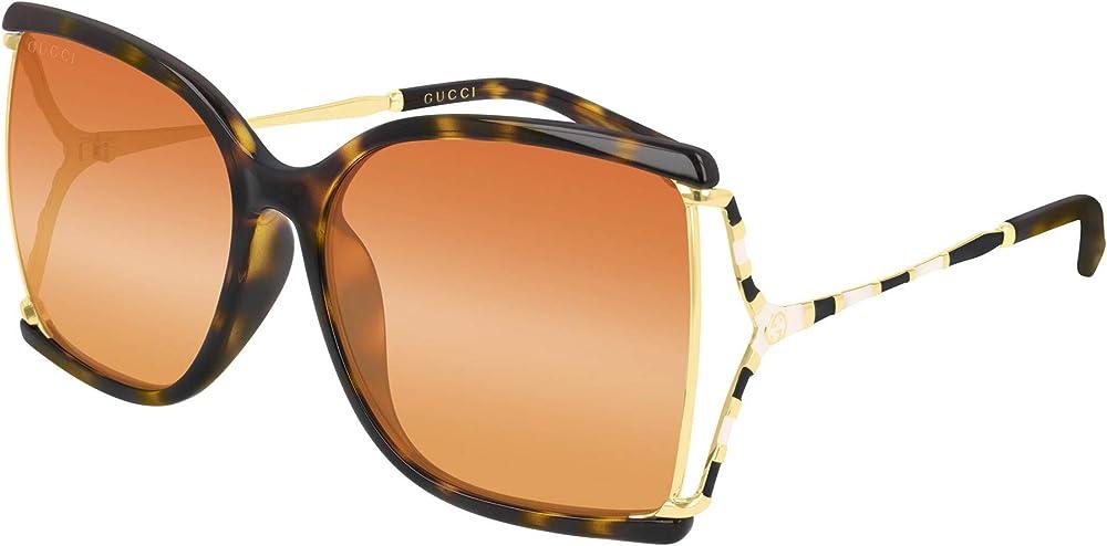 Gucci, occhiali da sole in metallo e acetato per donna, havana gold ivory/orange GG0592SK