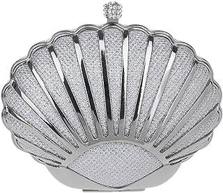 Handbags - Ladies Vintage Shell Banquet Dinner Bag, Solid High-end Handbag, Gold/Silver/Blue, 15x6x11CM Shining (Color : Silver)