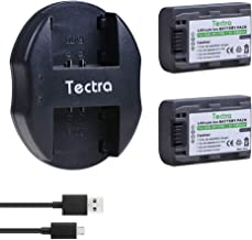 Tectra 2Pcs Battery + USB Dual Charger for Sony NP-FP50 Battery NP-FP30 Sony DCR-DVD103 DCR-DVD105 DCR-DVD203 DCR-DVD205 DCR-DVD305 DCR-DVD92 DCR-HC20 DCR-HC21 DCR-HC26 HandyCams