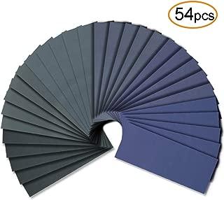 54pcs Wet Dry Sandpaper Assorted 3000/2500/2000/1500/1200/1000 Grit for Automotive Sanding