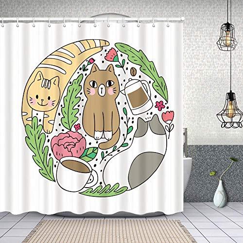 Dfform Cortina Baño,Dibujos Animados Lindo Gato café Vector Doodle,Cortina de Ducha Tela de Poliéster Resistente Al Agua Cortinas de Ducha Baño con 12 Ganchos,150x180cm