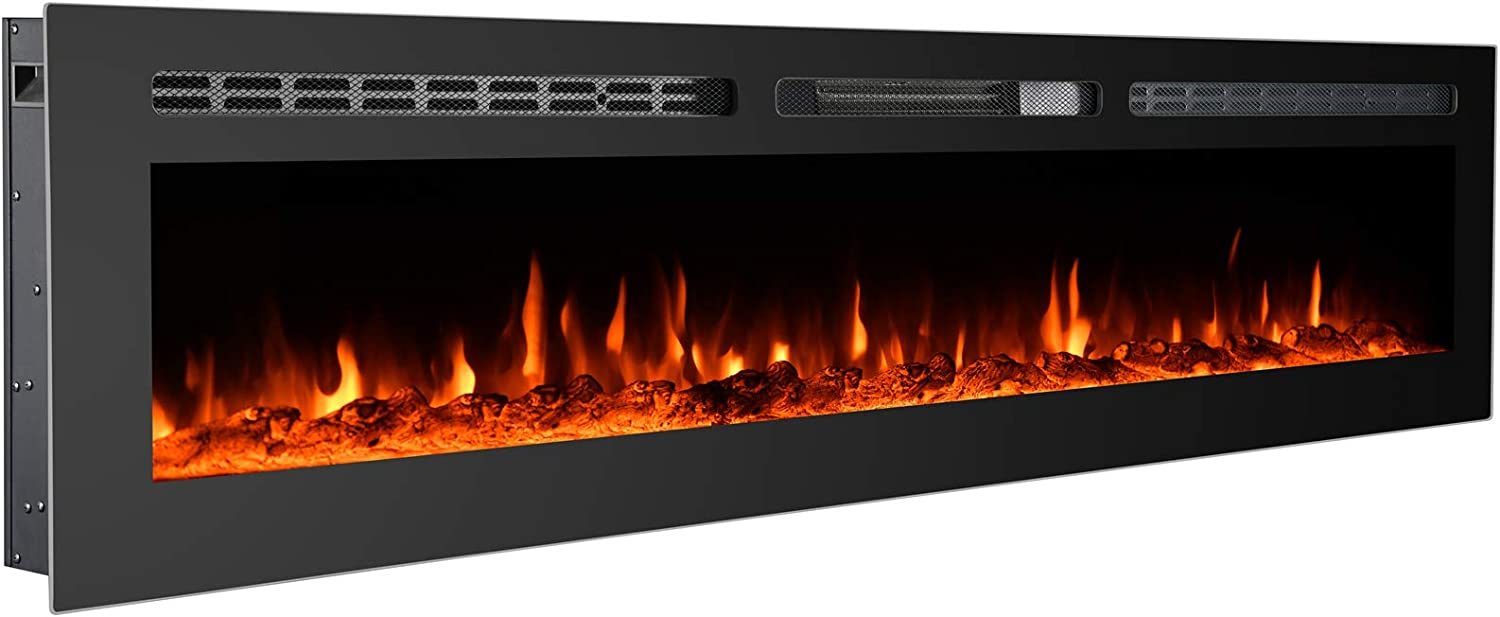 GMHome 70 Inches Wall Recessed Electric Fireplace Wall Mounted in-Wall Built Heater, Log Sets & Crystals, 9 Changeable Colors, with Remote, 1500W Fireplace, Black