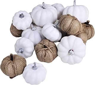 Artificial White Pumpkins and Burlap Pumpkins Assorted Faux Harvest Pumpkins for Fall Wedding Thanksgiving Halloween Seasonal Holiday Tabletop Decoration Centerpiece 18 Pcs