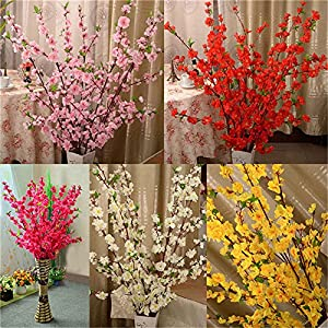 BELUPAID Artificial Spring Peach Blossom Cherry Plum Bouquet Branch Silk Flower, Artificial Fake Flowers for Wedding Home Office Party Hotel Garden Yard Tree Decoration