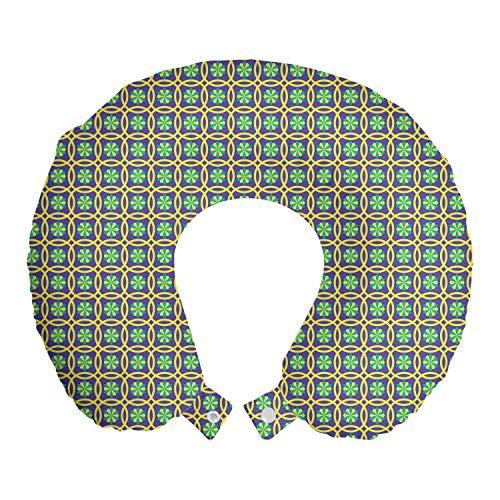 ABAKUHAUS Geometrisch Reisekissen Nackenstütze, Motiv in Kreisen Symmetrie, Schaumstoff Reiseartikel für Flugzeug und Auto, 30x30 cm, Blau Violett Senf
