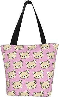 Lesif Einkaufstaschen, Bärenmotiv, rosa Hintergrund, Segeltuch, Einkaufstasche, wiederverwendbar, faltbar, Reisetasche, groß und langlebig, robuste Einkaufstaschen