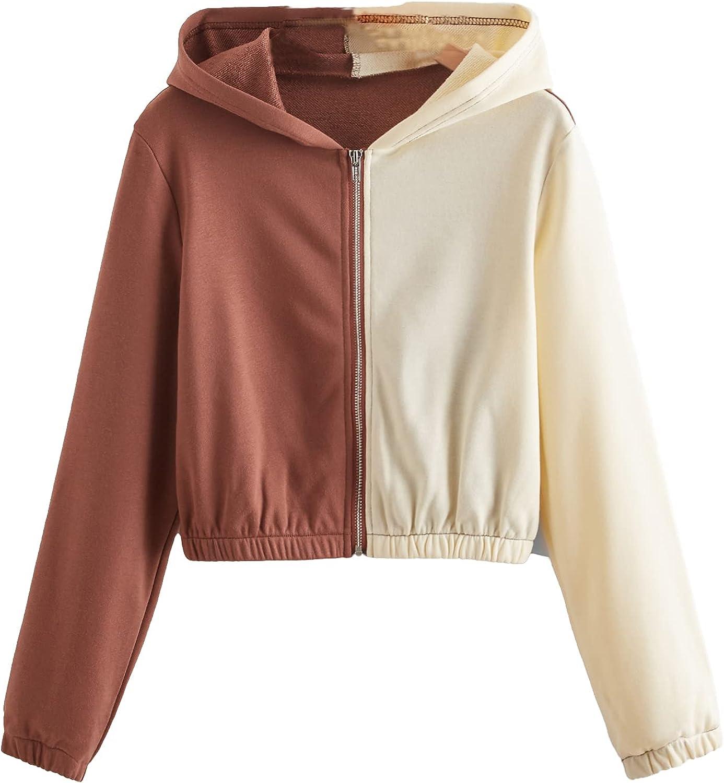 SweatyRocks Women's Long Sleeve Colorblock Zip Up Crop Top Hoodie Sweatshirt Jacket
