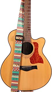 Guitar Strap - Adjustable Buckle - 3 Pick - Genuine Leather Ends, 2inch Wide, Woven Jacquard Pattern Design (Retro Geometric)