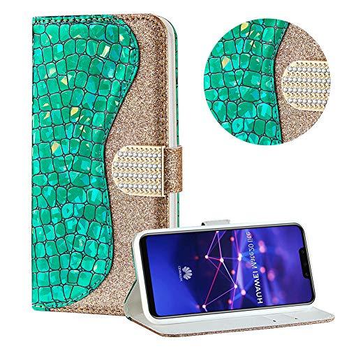 Diamant Brieftasche Hülle für Huawei Mate 20 Lite,Grün Wallet Handyhülle für Huawei Mate 20 Lite,Moiky Ultra Dünn Stilvoll Laser Glitzer Farbe Block Klappbar Stand Silikon Handytasche