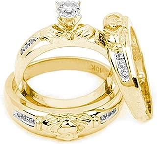 Solid 10k Yellow Gold Diamond Matching Claddagh Men's Trio Mens & Womens Trio Wedding Band Ring Set (1/8 Cttw.)