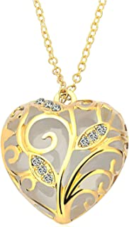 Steampunk Magical Fairy Glow in The Dark Heart Charms Pendant Necklace White Gold Plated