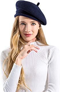 BAVST Women Beret Hats Classic French Style Lady Winter Knit Beanie Warm Solid Color Crochet Caps for Girls Soft Breathable