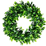 16.5 Inches Artificial Boxwood Wreath Faux Green Leaves Small Greenery Wreath for Front Door Indoor Home Hanging Wall Window Wedding Party Decor