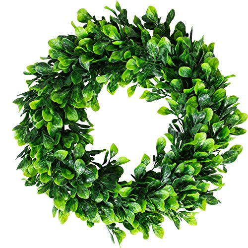 16.5 Inches Artificial Boxwood Wreath Summer Faux Green Leaves Small Greenery Wreath for Front Door Indoor Home Hanging Wall Window Wedding Party Decor