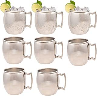 Old Dutch 8 Pack Stainless Steel Moscow Mule Mugs with Handles, 16 Ounces, Barware Set Of Moscow Mule Cups