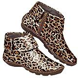 Dasongff Botines planos de piel con cremallera para mujer, diseño de leopardo, para el tiempo libre, cómodos, planos