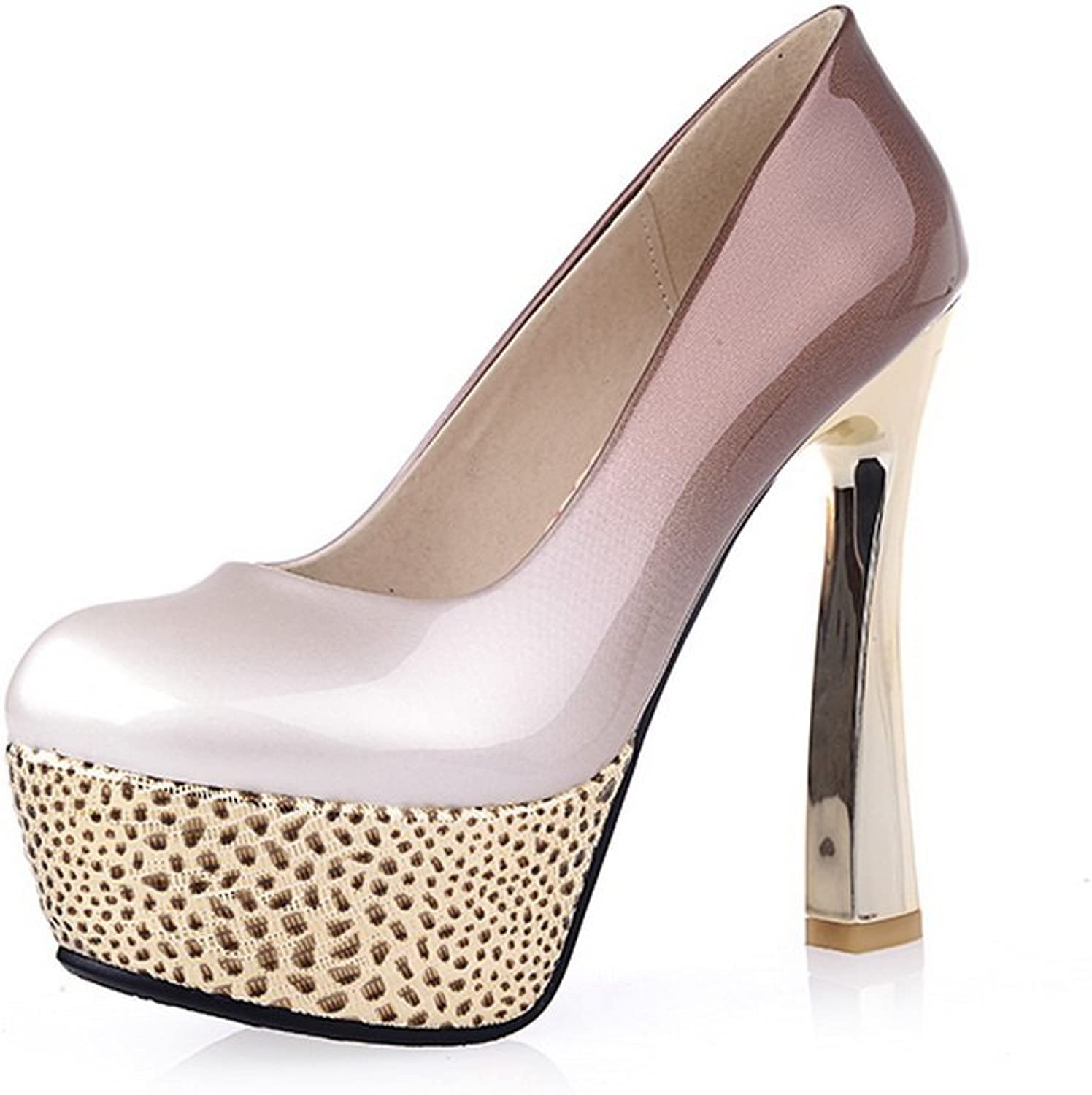 AmoonyFashion Women's Round Closed Toe Pull-on Patent Leather Assorted color High-Heels Pumps-shoes