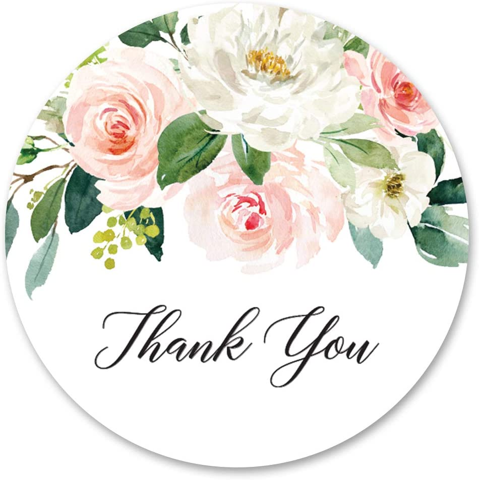 Amazon Com 40 Cnt Blush Floral Thank You Stickers Favor Stickers Thank You Labels And Seals Black Health Personal Care