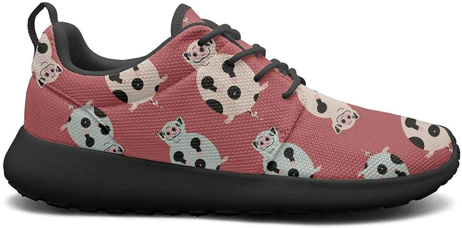 Gjsonmv Red Fat Cute Spotted Pig mesh Lightweight shoes for Women Non Slip Sports Track Sneakers shoes