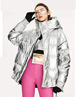Winter New Tide Women's Short Thickened Down Jacket,Fashion Loose Warm Hooded Big Fur Collar Bright Surface Large Size Down Jacket,Silver,S