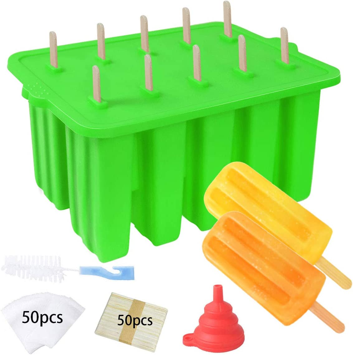 Silicone Popsicle Molds,Homemade Popsicle Maker,Food Grade Reusable Popsicle Mold for Kids,Ice Cream Mold,Ice Pop Molds Maker with Popsicle Sticks,Popsicle Bag,Brush,Funnel (10 Cavity,Green)