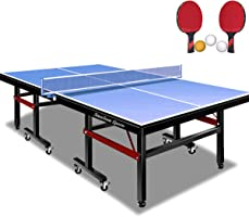 Stansom Professional Foldable Table Tennis Tables with Cover, 18mm Tabletop 40mm Legs Ping Pong Table with 2 Rackets 3...