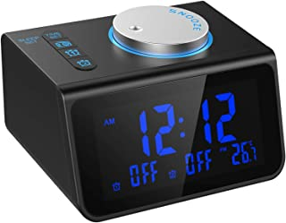 LATME Alarm Clock Radio for Heavy Sleepers W Dual Alarms,3.2'' Digital Display and Dimmer,7 Alarm Sounds,Snooze,2 USB Ports,Bedside FM Radio Clocks with Temp Display for Bedrooms