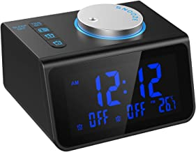LATME-Alarm-Clock-Radio-for-Heavy-Sleepers W Dual Alarms,3.2'' Digital Display and Dimmer,7 Alarm Sounds,Snooze,2 USB Ports,Bedside FM Radio Clocks with Temp for Bedrooms/Kitchen/Office (Black-Blue)